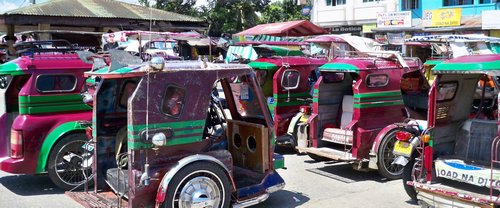 burgandy with green stripes filipino tricycle