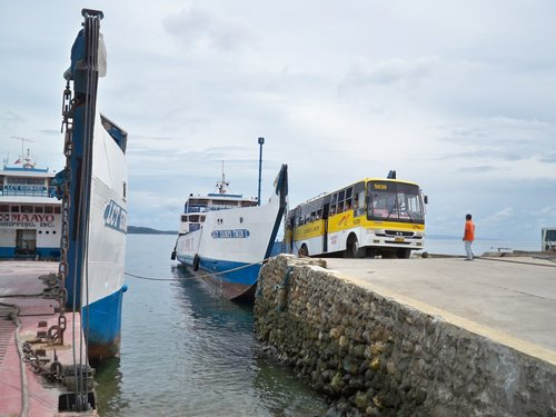 Ceres bus on Maayo Shipping landing craft