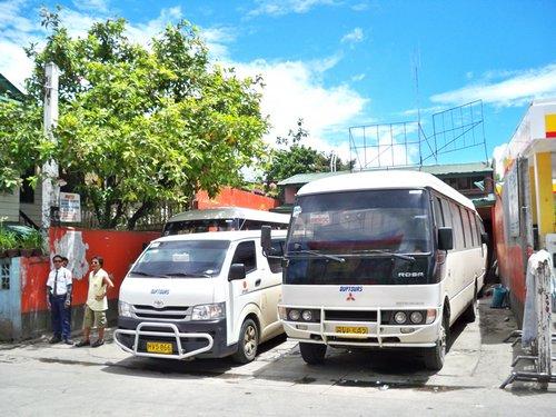 Duptours mini van terminal in Ormoc City Philippines