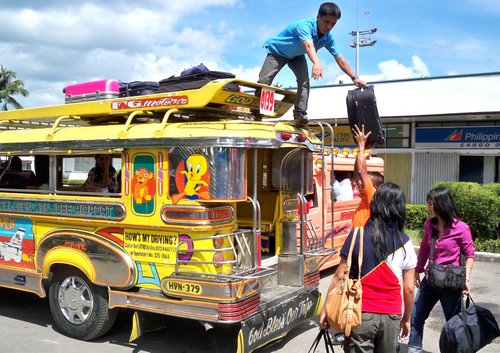 jeepney transport at the Tacloban airport