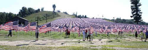 flags representing victims of the Sept 11 attack