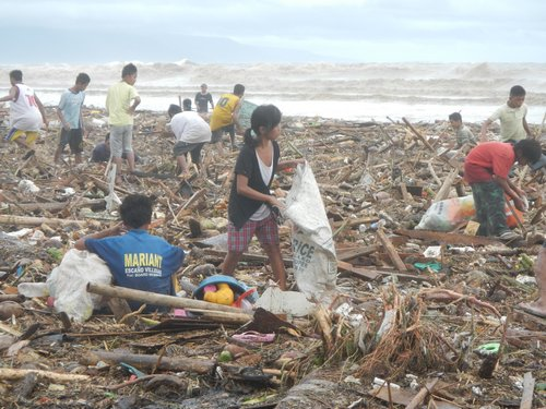 Debris from tropical storm Sendong Washi in Dumaguete