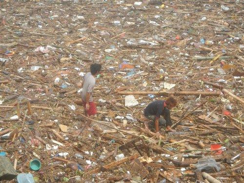 walking through the debris in Dumaguete