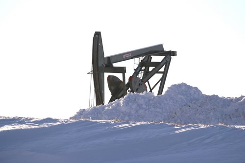 oil rig in snow