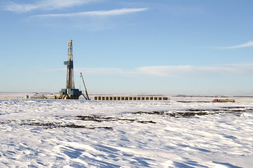 Oil rig in the snow
