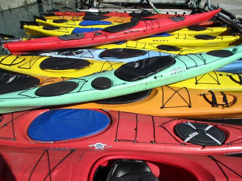 colorful kayaks